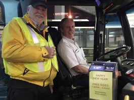 The free New Year's Eve service on Peterborough Transit was first offered in 2015, sponsored by Wolfe Lawyers (photo: Don Vassiliadis / Twitter)