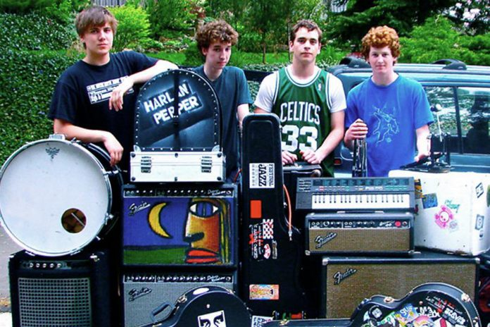 A young Thompson Wilson (left) in Harlan Pepper, a band he formed in 2008 with fellow Hamilton musicians Dan Edmonds, Marlon Nicolle, and Jimmy Hayes. The band broke up in late 2015 and Thompson has since pursued a solo career as a singer-songwriter and performer. (Photo: Maple Music)