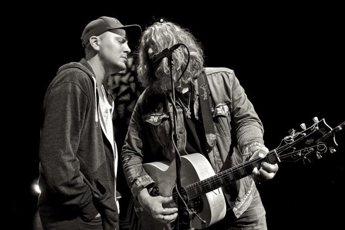 """Thompson and Tom Wilson performing in concert. """"There's something about sharing a mic with your kid."""" (Photo courtesy of Tom Wilson)"""