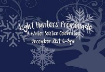 Celebrate the return of the light on the winter solstice with the first annual Light Hunters' Promenade takes place from 6 to 8 p.m. on December 21st in downtown Peterborough (graphic: Atelier Ludmila)