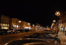 Historic downtown Lindsay at night. We're featuring two of the 185 shops and services in downtown Lindsay: Kent Bookstore and Brittany n' Bros. (Photo: Eric Marshall / Panoramio)