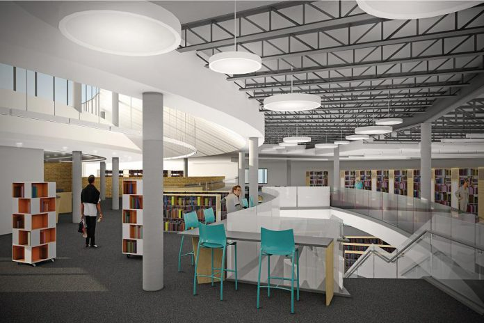 A design rendering of the interior of the new Peterborough Public Library on Alymer Street, which is expected to reopen by late summer 2017 (graphic: +VG Architects and Intercede Design Consultants)