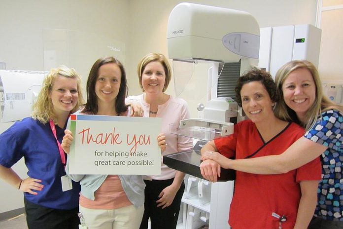 PRHC Foundation is currently fundraising for three new state-of-the-art mammography machines for the hospital's Breast Assessment Centre. Here PRHC Foundation President & CEO Lesley Heighway (middle) with staff of the Breast Assessment Centre (Senior Ultrasound Technologist Katelyn Martino, Breast Health Navigator Lindsey Justynski, Senior Mammography Technologist Jill Cummings, and Clerk Angela Henderson) thank donors for their support. (Photo: PRHC Foundation)