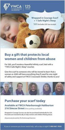 """Buy a gift from YWCA Peterborough Haliburton and protect local women and children from abuse. For $60, you can buy a """"Wrapped in Courage"""" scarf along with one safe night's sleep. (Graphic: YWCA Peterborough Haliburton)"""