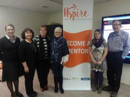 Peterborough M.P.P. Jeff Leal (right) at the launch of the Aspire website, with Aspire Volunteer Coordinator Bethann Brown, John Howard Society Executive Director Kathy Neill, Trent Valley Literacy Association Program Director Lesley Hamilton, and Mentor Emily Warren (photo: Aspire)