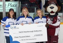 At the January 7th Peterborough Petes game, YWCA Peterborough Haliburton received a $15,000 cheque from the Bell Let's Talk Community fund for mental health programs for women at YWCA Crossroads Shelter (photo courtesy of YWCA Peterborough Haliburton)