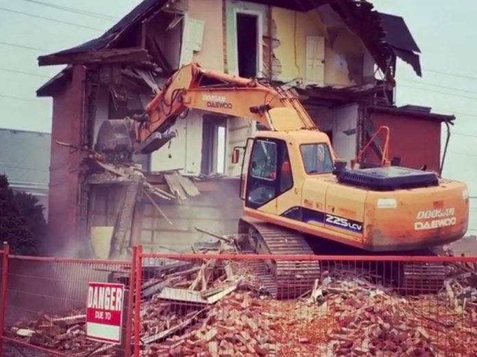 The City of Peterborough had purchased the property in March 2016 for $650,000, as part of the renovation plan for the Peterborough Public Library.  The estimated cost to demolish the building is an additional $175,000, with another $525,000 required to redevelop it into a parking lot and green space. (Photo: Dave Rogers / Instagram)