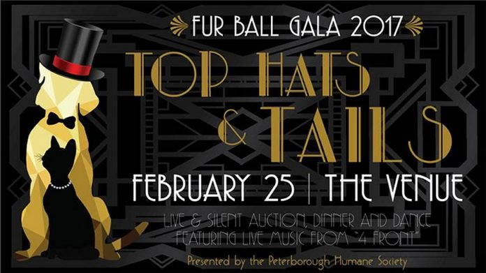 """The fourth annual Fur Ball Gala, a fundraiser for the Peterborough Humane Society, takes place Saturday, February 25 at The Venue in downtown Peterborough. The theme of this year's gala is """"Top Hats & Tails""""."""