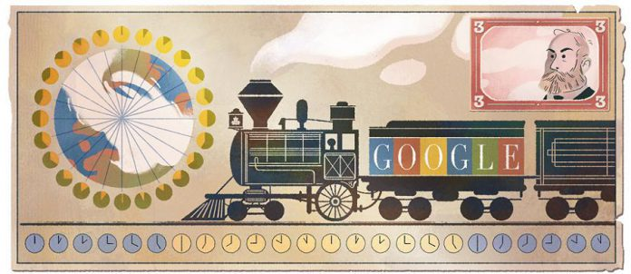 Google's doodle on January 7, 2017 honours Sir Sandford Fleming's 190th birthday (illustration: Sophie Diao)