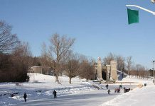 The green flag is flying at the Trent canal near the Peterborough Lift Lock, meaning the ice is safe for skating (file photo)