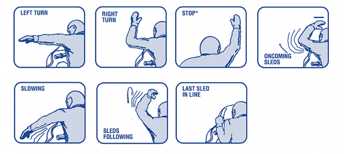 Recommended hand signals (graphic: Canadian Council of Snowmobile Organizations)