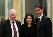 Peterborough-Kawartha MP Maryam Monsef, pictured here with Governor General David Johnston and Prime Minister Justin Trudeau, was sworn in on January 10, 2017 as Minister of Status of Women (photo: Adam Scott)