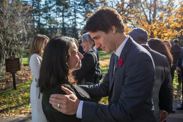 Maryam Monsef with Prime Minister Justin Trudeau before being sworn in as Trudeau's youngest cabinet minister on November 5, 2015 (photo: Maryam Monsef / Facebook)
