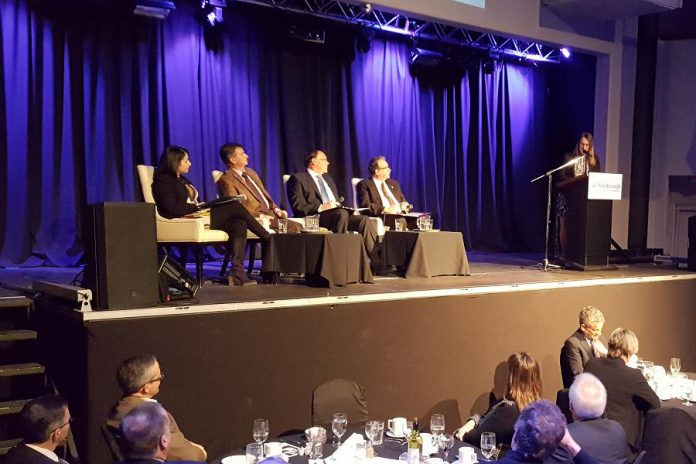 "MP Maryam Monsef, County Warden Joe Taylor, Mayor Daryl Bennett, and MPP Jeaf Leal listen to a question from moderator Sandra Dueck at the ""Power Hour"" event hosted by the Peterborough Chamber of Commerce on January 25, 2017. (photo: Jeannine Taylor / kawarthaNOW)"