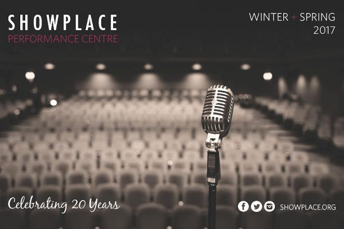The cover of Showplace Performance Centre's Winter/Spring 2017 program. Showplace, which had its official opening show on October 15, 1996, is celebrating its 20th year with a wide range of arts, music, and performance events.