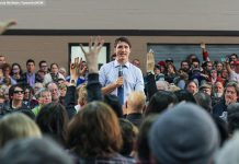 Prime Minister Justin Trudeau held a town hall meeting in Peterborough on Friday, January 13 (photo: Linda McIlwain / kawarthaNOW)