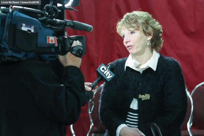 After her emotional plea to the Prime Minister, Kathy Katula found herself in demand for interviews with the media  (photo: Linda McIlwain / kawarthaNOW)