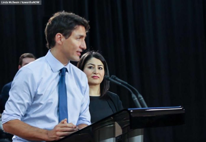 MP for Peterborough-Kawartha Maryam Monsef watches the Prime Minister, who earlier this week moved her from the Democratic Institutions portfolio to Status of Women (photo: Linda McIlwain / kawarthaNOW)