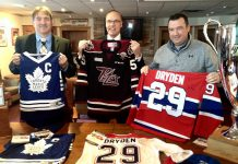 Under The Lock founder and chair Dave Smith, Mayor Daryl Bennett, and Peterborough Petes general manager Mike Oke (photo: Paul Rellinger / kawarthaNOW)