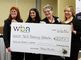 YWCA Peterborough Haliburton Executive Director Lynn Zimmer (left) and Special Events Coordinator Nicole Pare (right) accept the $21,019.75 cheque from WBN Program Directors Sana Virji and Louise Racine (photo: Paula Kehoe / WBN)