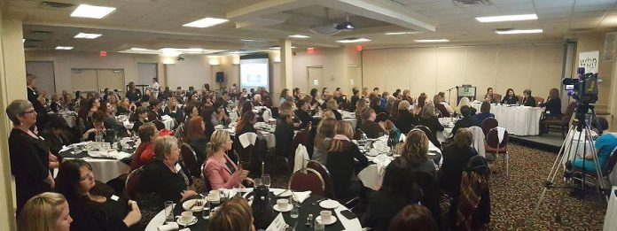 There were 150 members and guests attending the Women's Business Network of Peterborough meeting at the Holiday Inn to hear the panel discussion (photo: Jeannine Taylor / kawarthaNOW)