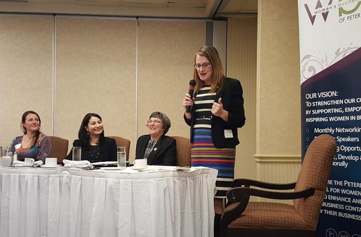 The Women in Politics panel: Peterborough City Councillor Diane Therrien, Peterborough-Kawartha MP and Minister of Status of Women Maryam Monsef, and Selwyn Township Mayor Mary Smith, with moderator Sandra Dueck of the Peterborough Chamber of Commerce (photo: Jeannine Taylor / kawarthaNOW)
