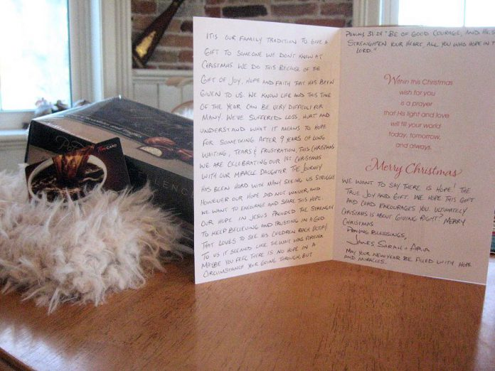The gift included a scarf, chocolates, a Tim Horton's gift card, and a handwritten Christmas card with a message of hope (photo: Susan McKenzie)