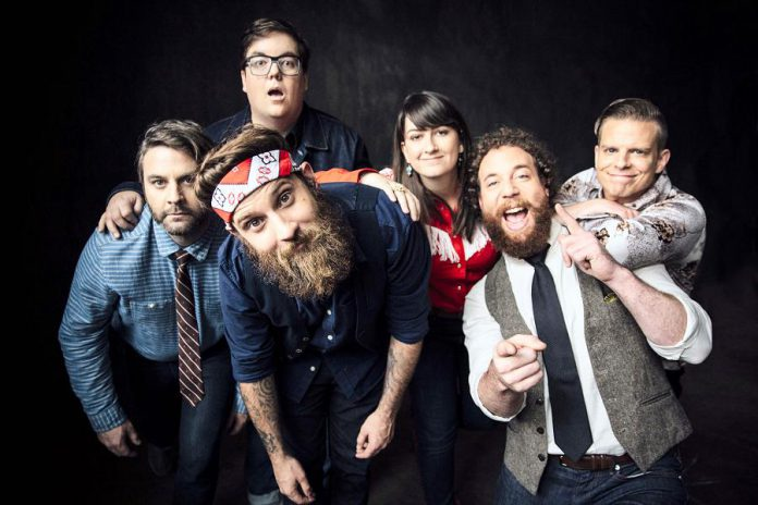 Four of the six members of The Strumbellas, including songwriter and frontman Simon Ward (with the bandanna), are natives of Lindsay, Ontario (publicity photo)