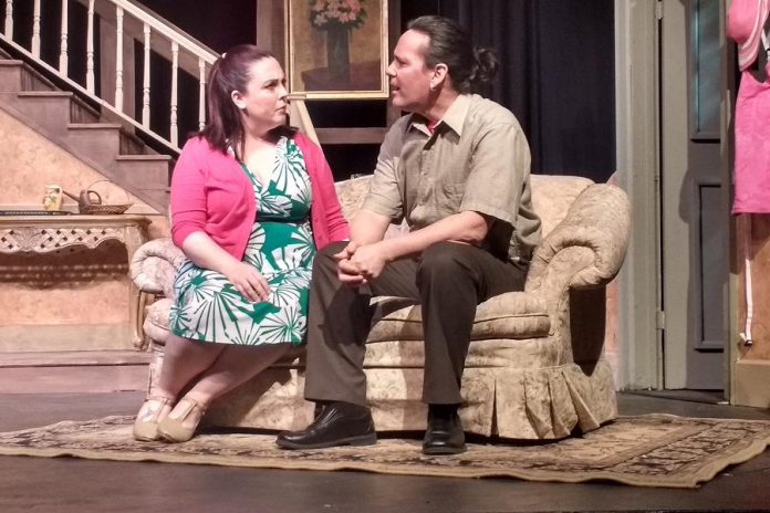 "Natalie Dorsett as Sarah and Derek Weatherdon as Noah in the Peterborough Theatre Guild's production of Robert Ainsworth's ""A Life Before"", running February 24 to March 11 (photo: Sam Tweedle / kawarthaNOW)"