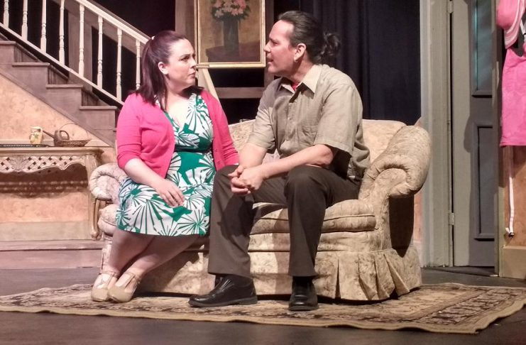 """Natalie Dorsett as Sarah and Derek Weatherdon as Noah in the Peterborough Theatre Guild's production of Robert Ainsworth's """"A Life Before"""", running February 24 to March 11 (photo: Sam Tweedle / kawarthaNOW)"""