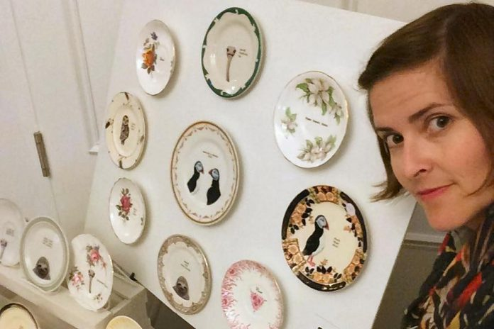 Anna Eidt, owner of Lou Brown Vintage, with a sample of her work (supplied photo)