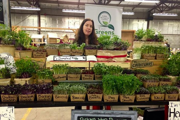 Tina Bromley, owner of Tiny Greens, at the Peterborough Farmers' Market. As part of her prize as winner of the inaugural Win This Space competition, Tina gets a free 12-month lease for a storefront in downtown Peterborough. (Supplied photo)