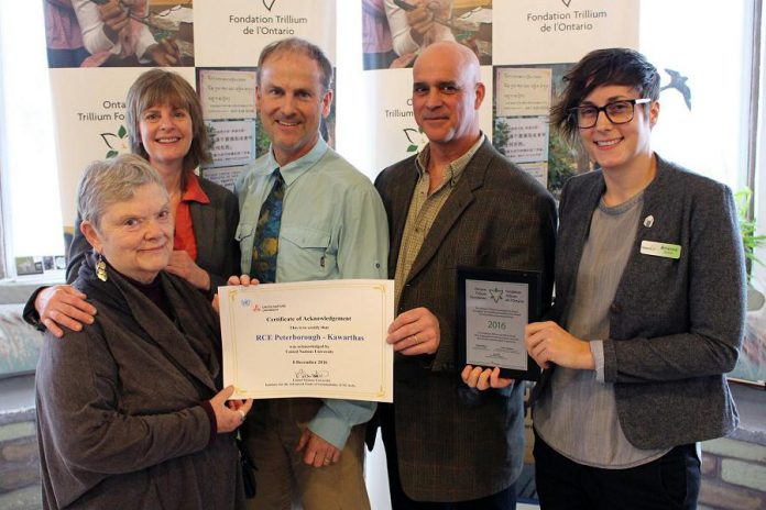 Members of the RCE Coordinating Committee: Linda Slavin of For Our Grandchildren, Jane Gray of Fleming College, Cam Douglas (Secondary School Teacher), Jacob Rodenburg of Camp Kawartha, and Brianna Salmon of GreenUP (photo courtesy of GreenUP)