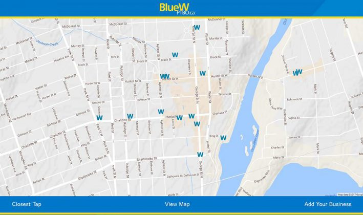 The interactive Google map at BlueWPtbo.ca showing the locations in downtown Peterborough where you can fill up your reusable water bottle for free. The ever-expanding map also shows locations in Lindsay, Cobourg, and more.