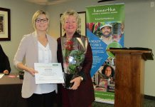 Carla Hunt has retired after 35 years at ServiceOntario in Lakefield, which is operated by the Kawartha Chamber of Commerce & Tourism. Carla, pictured with outgoing Chamber president Kris Keller, was recognized at the Chamber Annual General Meeting on February 15.