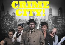 The cast of Crime City, Andrew Root's loving parody of old-time radio dramas and pulp detective stories. The show is recorded live before a studio audience and then released as a podcast produced by Adam Martignetti. (Photo: Adam Martignetti)