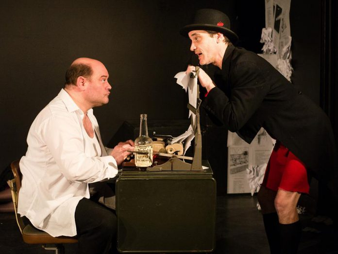 Brad Brackenridge as American humourist Don Marquis with Ryan Kerr as his creation Archy the cockroach in Kate Story's play damned be this transmigration, running at the Market Hall for three performances on March 3 and 4 (photo: Andy Carroll)