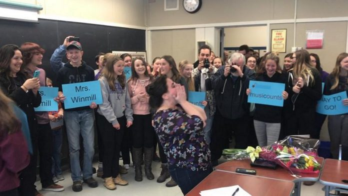 Music teacher Dianne Winmill gets surprised in her classroom at North Hastings High School on January 20 with the announcement she had won the 2017 MusiCounts Teacher of the Year Award (photo: North Hastings High School / Twitter)