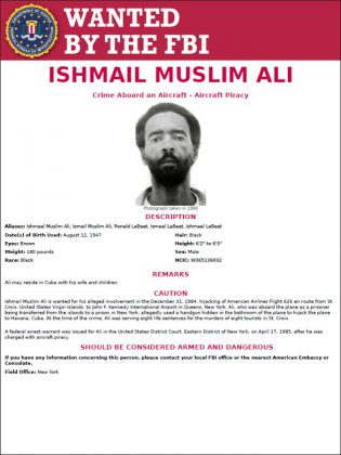 To this day, Ishmael Muslim Ali remains on the FBI's most-wanted list (poster: FBI website)