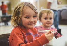 Two young soup fans enjoy the offerings at last year's Lindsay SoupFest. This year's event takes place on February 25 at the Victoria Park Armoury. (Photo: Youth Unlimited SoupFest Committee)