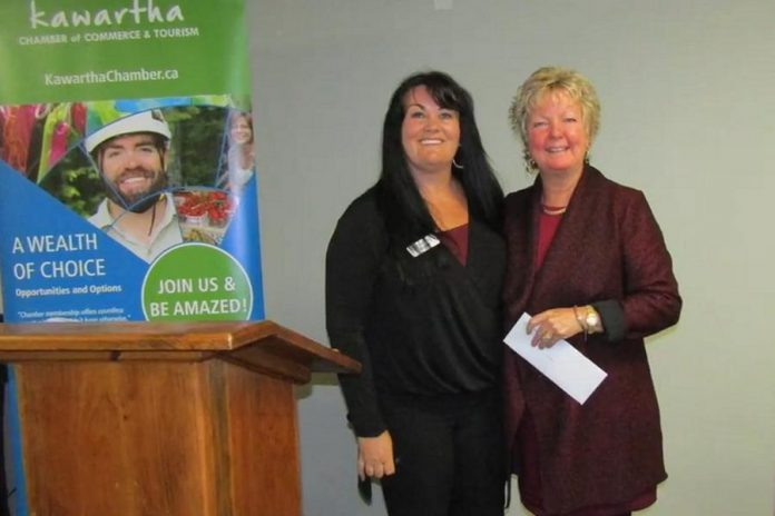 Kris Keller (right) is retiring from the Board of Directors Kawartha Chamber of Commerce & Tourism after seven years, including the past two years as President.