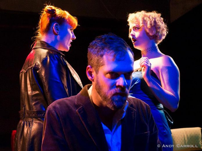 "Nikki Weatherdon, Derek Bell, and Quinn Ferentzy perform in The Theatre of King's production of ""No Exit"" by Jean-Paul Satre, which runs from February 23 to 25 (photo: Andy Carroll)"