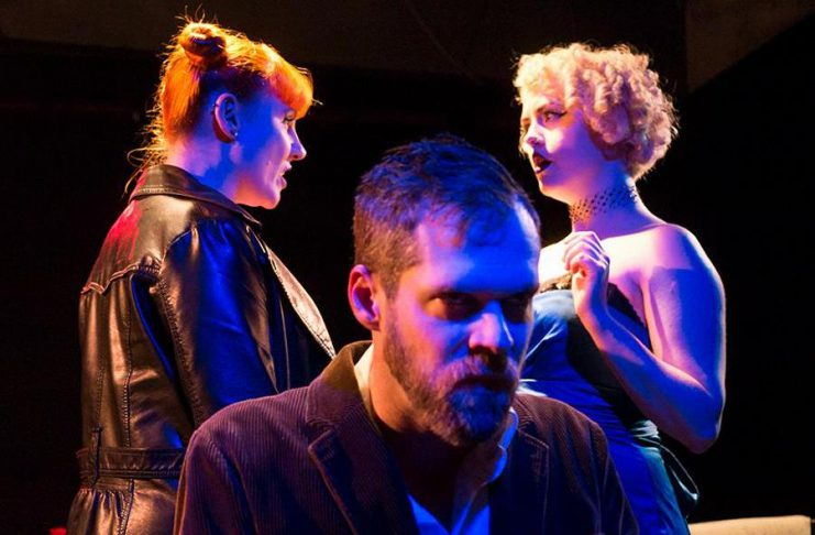 """Nikki Weatherdon, Derek Bell, and Quinn Ferentzy perform in The Theatre of King's production of """"No Exit"""" by Jean-Paul Satre, which runs from February 23 to 25 (photo: Andy Carroll)"""