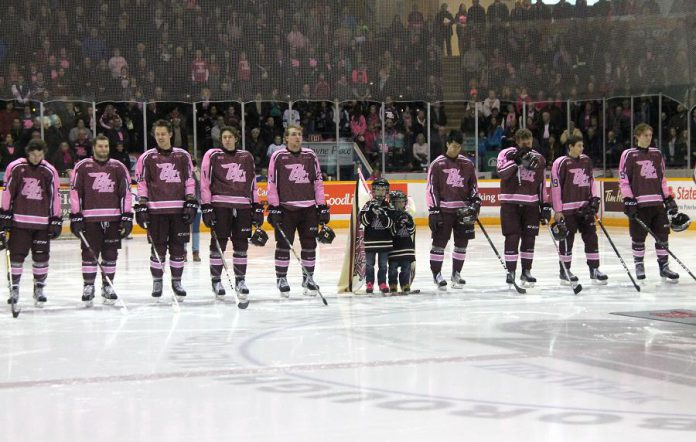 The Petes on the blue line wearing their Pink in the Rink fundraising sweaters  (photo credit: Kelsey Saunders / Peterborough Petes)