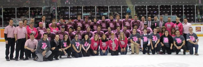 The Peterborough Petes with the Pink in the Rink committee  (photo credit: Kelsey Saunders / Peterborough Petes)