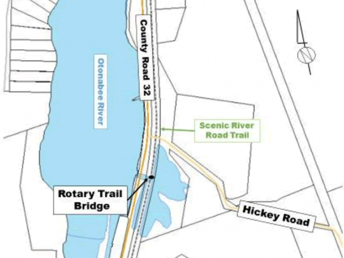 The Rotary Trail Bridge on the Scenic River Road Trail is being rehabilitated