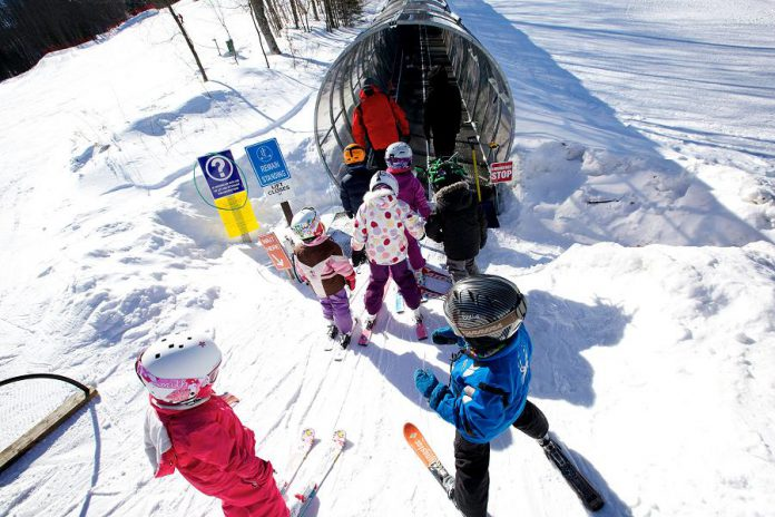 Parents love Sir Sam's climate-controlled covered ski lift, the first in Canada, which protects young skiers from the elements
