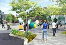 """Concept illustration showing the Charlotte Street entrance to the planned Charlotte Street Urban Park. The UN Peacekeepers monument would be installed in """"The Commons"""" area, is located to the right of the Charlotte Street entrance. (Illustration: AECOM)"""