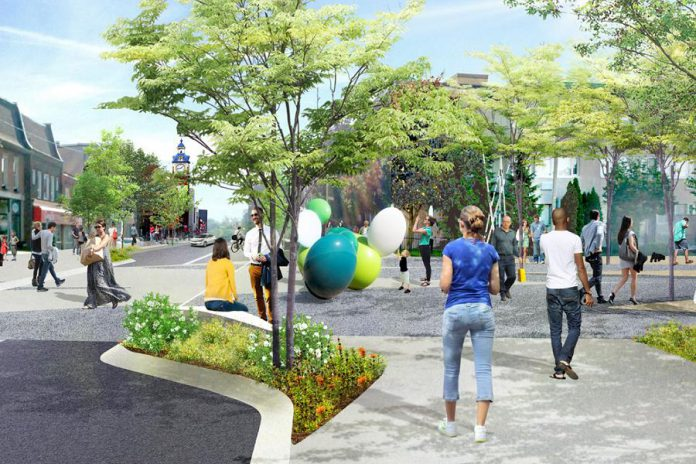 "Concept illustration showing the Charlotte Street entrance to the planned Charlotte Street Urban Park. The UN Peacekeepers monument would be installed in ""The Commons"" area, is located to the right of the Charlotte Street entrance. (Illustration: AECOM)"