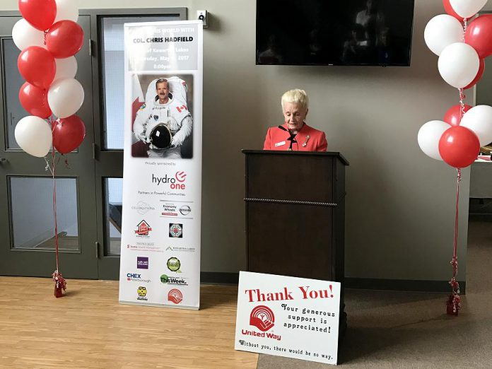 Barb Truax, one of the co-chairs of the Three Chairs Committee for the United Way for City of Kawartha Lakes 2016-2017 Fundraising Campaign, at the announcement of the fundraiser featuring Colonel Chris Hadfield (photo courtesy of United Way for CKL)